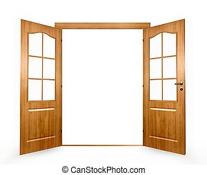 Open door on a white background