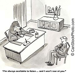 Open Door Policy - Cartoon of lion business leader saying to...