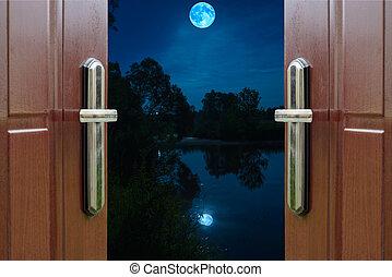 open door Quarter - open door view night landscape with the ...