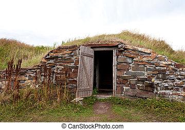 Open door root cellar Elliston Newfoundland Canada