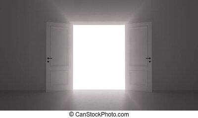 open door shine in dark room 4k