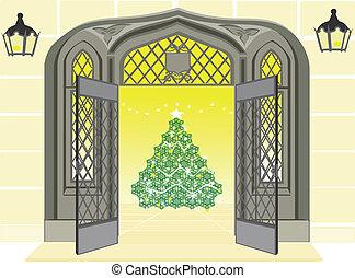 Open door showing Christmas scene - Open door showing a...