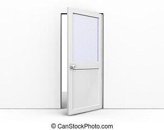 Open door - 3D render of an open door