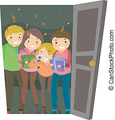 Open Door Surprise Party - Illustration of Group of People...