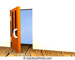 Open door - The image of the open door behind which the sky...