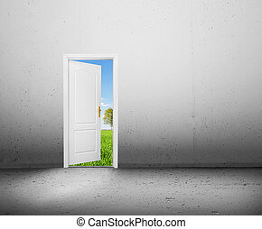 Open door to a new better world, the green summer landscape. Conceptual new way, entrance to new world, life, hope.