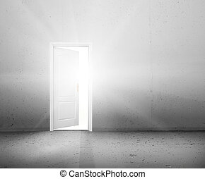 Open door to a new better world, the sun light shining through doorway