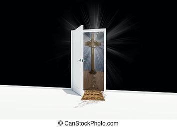 open door to cross on a hill