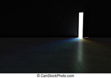 Open door to dark room with bright rainbow light shining in.  Ba