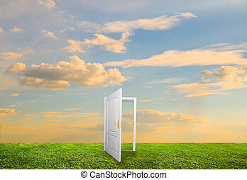 Open door to new life on the field. Hope, success, new life...