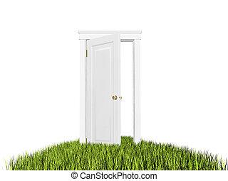 Open door to new world, grass carpet. On white background.