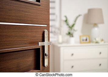 Open door to the romantic bedroom