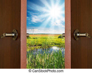 open door with a view of green meadow illuminated by bright suns
