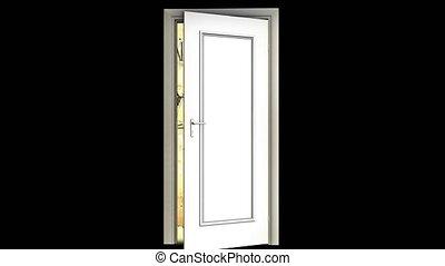 Open door with infinite time. Vintage watch. Rapid movement...