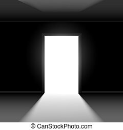 Open door with light. Illustration on dark empty background