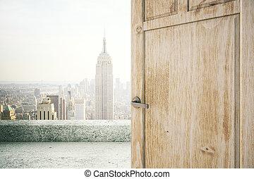 Open door with NY view - Open wooden brown door with New...