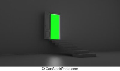 open door with steps in a dark room on a green screen