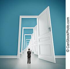 open doors - businessman in blue room with doors open