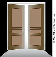 Open Doors image of two doorway with decorative frame.