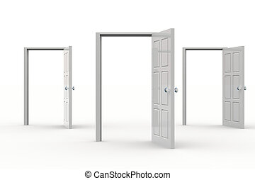 Open Doors - Three white open doors. Concept of...