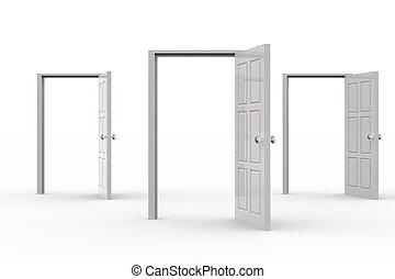 Open Doors - Three white open doors. Concept of...