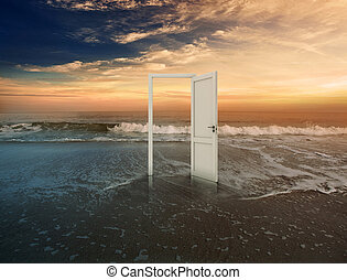 Open doorway on beautiful beach with sunset