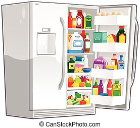 An illustration of a large double door fridge you might find in any kitchen.