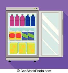 Open drink freezer icon, flat style