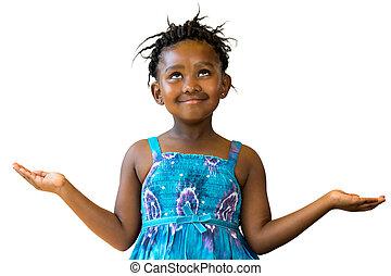 open., dulce, arriba, brazos, mirar, africano, niña