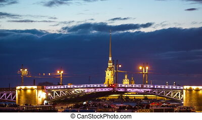 Open Dvortsovy Bridge and view of the Spit of Vasilyevsky...