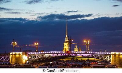 Open Dvortsovy Bridge and view of the Spit of Vasilyevsky...