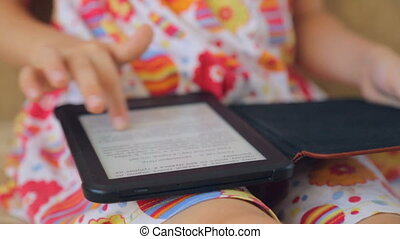 Open e-book in child's hands