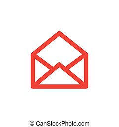Open E-mail Line Red Icon On White Background. Red Flat Style Vector Illustration.