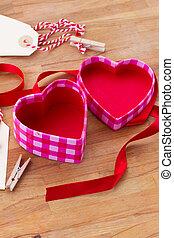 open empty box in heart shape