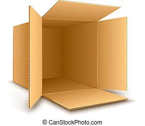 Open empty cardboard box. Eps10 vector illustration. Isolated on white background