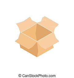 Open empty cardboard box icon, isometric 3d style