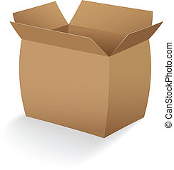 open empty cardboard box vector illustration
