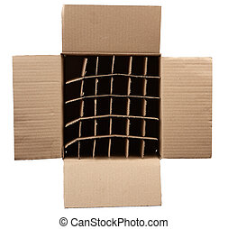 open empty cardboard box with partitions for transporting broken items of bottles