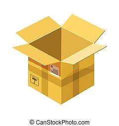 Open empty cardboard icon, cartoon style
