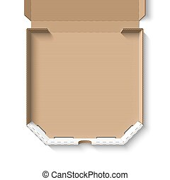 Open empty cardboard pizza box template vector illustration
