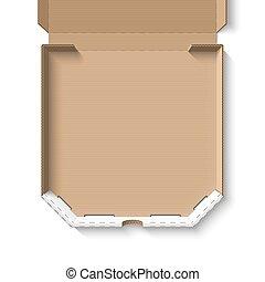 Open empty cardboard pizza box template vector illustration