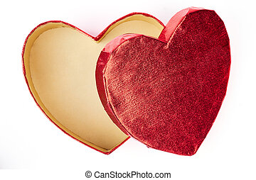 Open An Empty Red Heart Shaped Fancy Box Isolated Against
