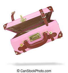 Open empty pink suitcase isolated on white