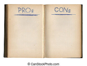 The Pros And Cons Empty Book Ready To Write To, Isolated On White Background