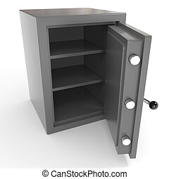 Open empty safe. Computer generated image.