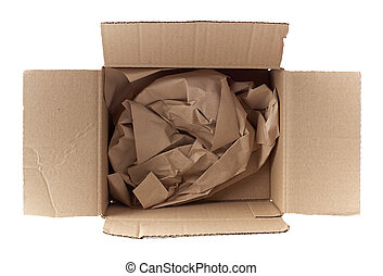 open empty square brown cardboard box for transportation and packaging of goods isolated on white background, top view