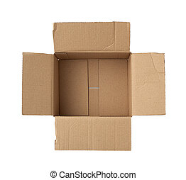 open empty square brown cardboard box for transportation and packaging of goods