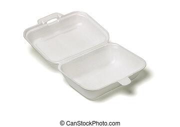 Open empty Styrofoam takeaway box on white background