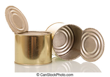 Open empty tin cans isolated on white.