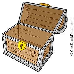 Open empty treasure chest - isolated illustration.